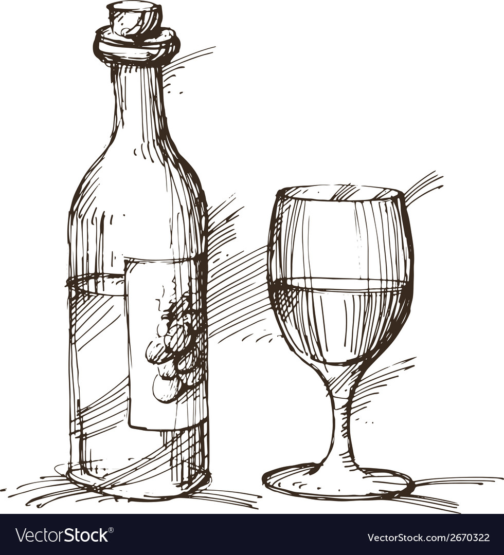 Hand drawn of a bottle of wine with a glass vector | Price: 3 Credit (USD $3)