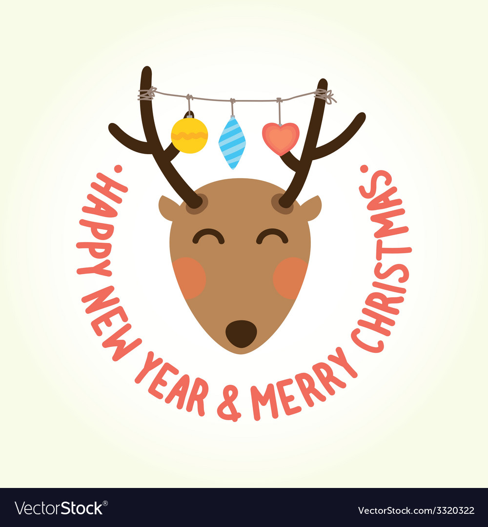 Happy new year deer head vector | Price: 1 Credit (USD $1)