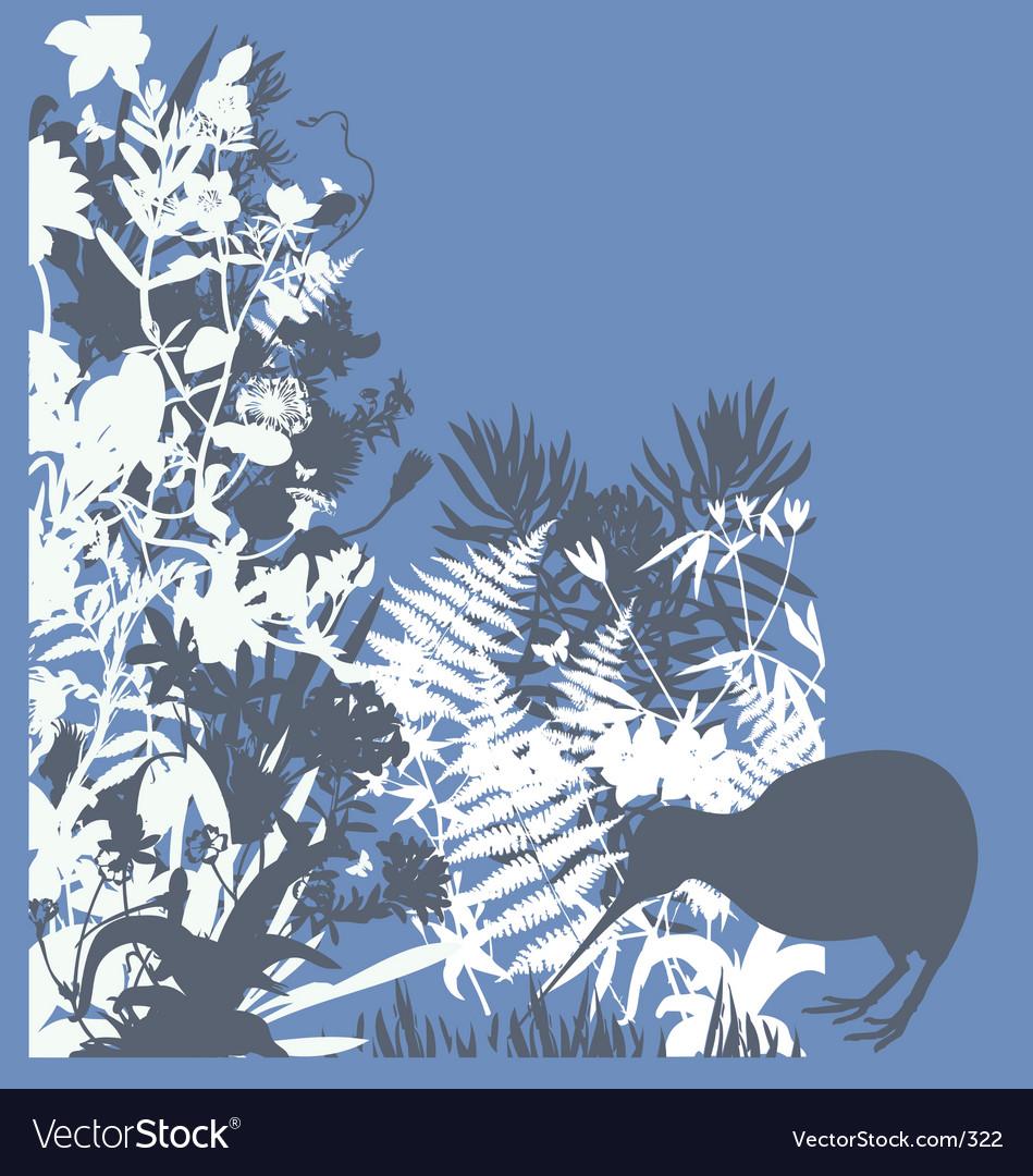 Kiwi in bush vector | Price: 1 Credit (USD $1)
