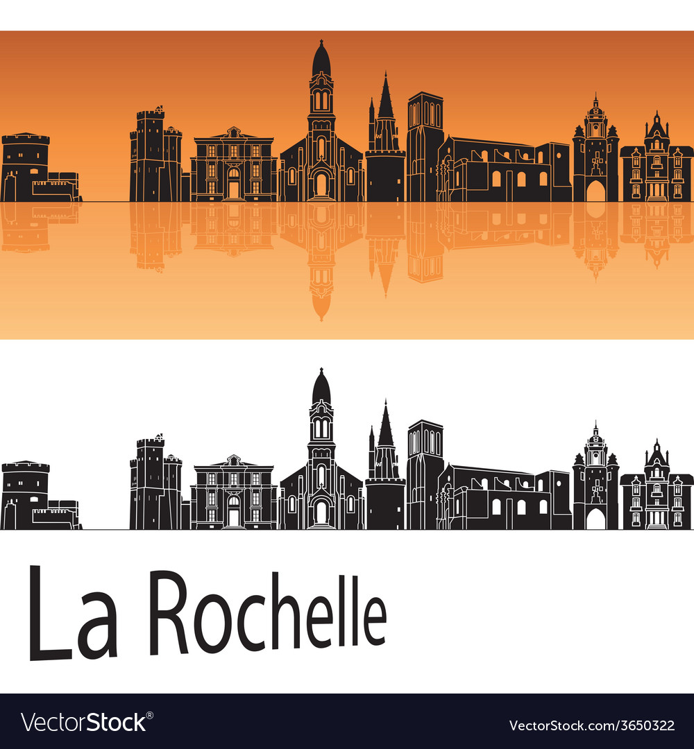 La rochelle skyline in orange background vector | Price: 1 Credit (USD $1)