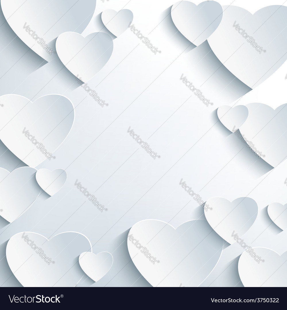 Modern grey background with 3d paper hearts vector