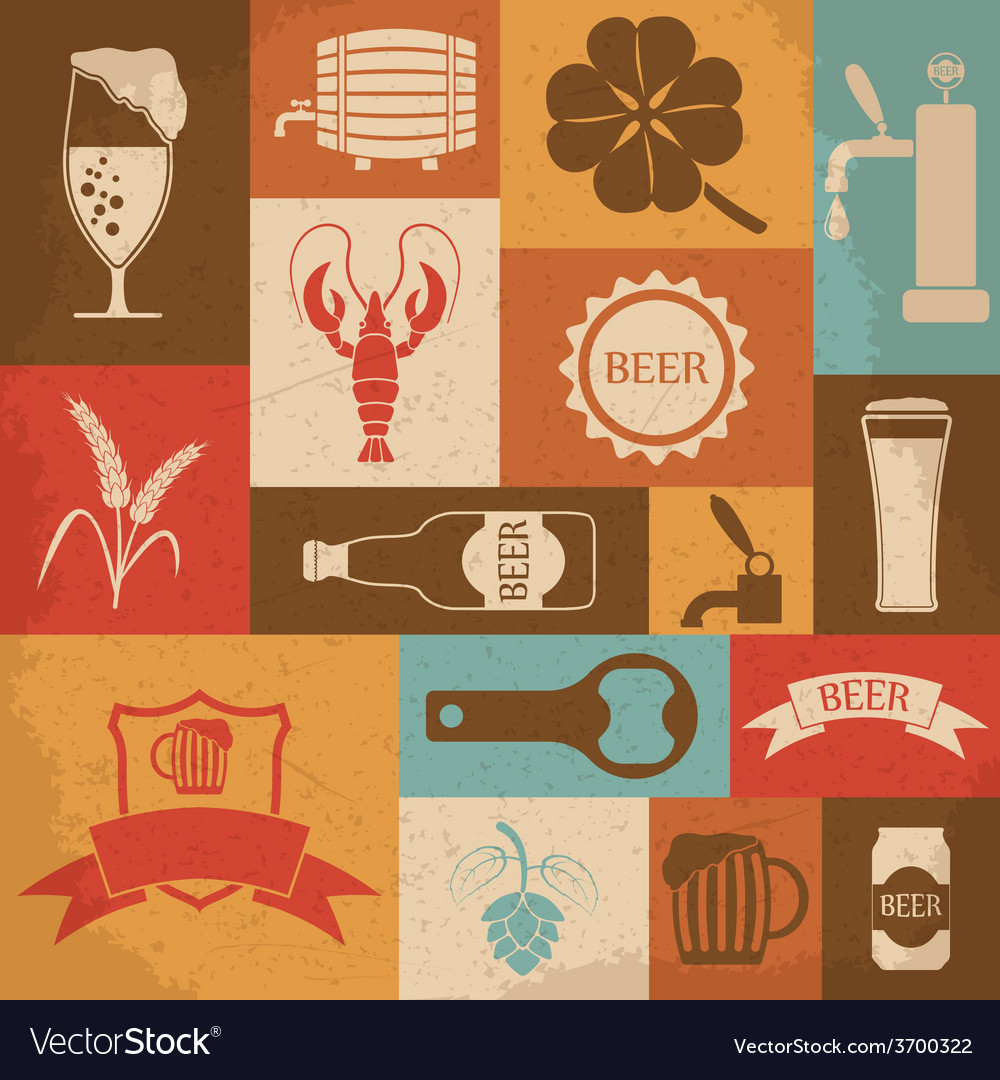 Retro beer icons set vector | Price: 1 Credit (USD $1)