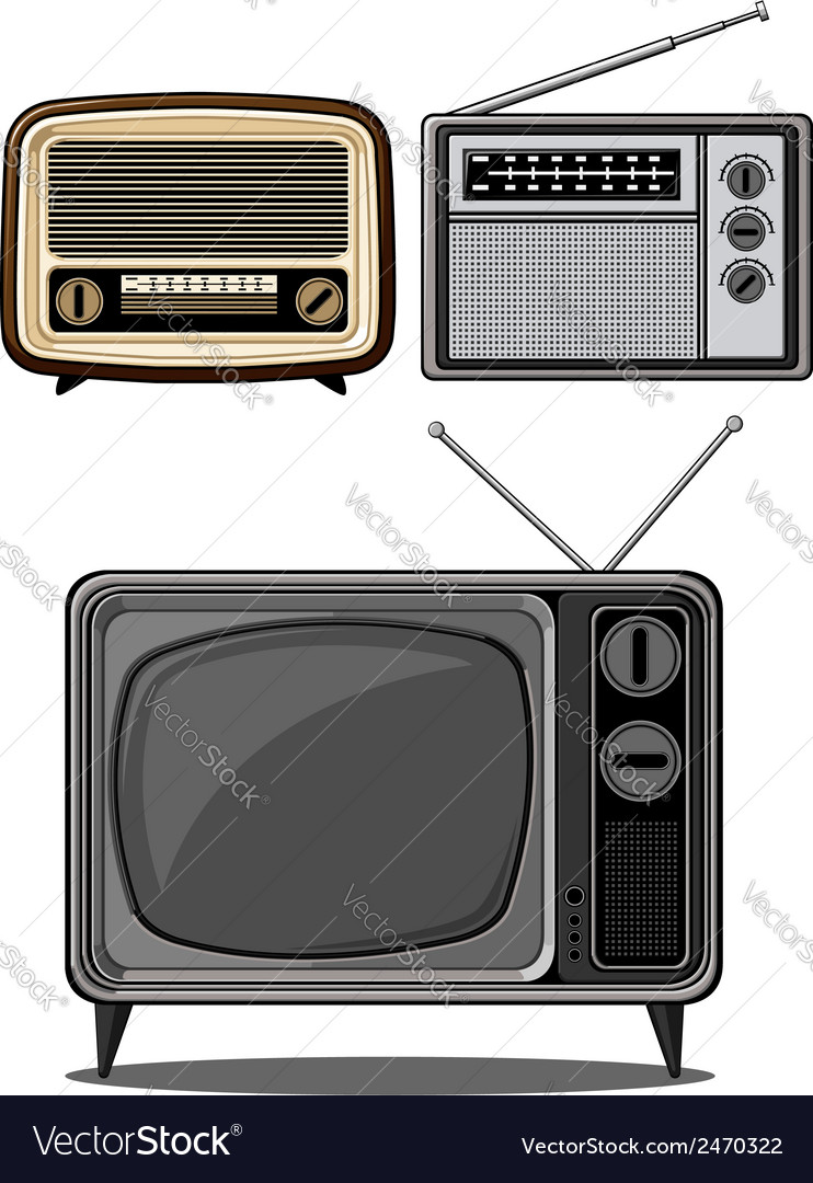 Retro television and radio vector | Price: 1 Credit (USD $1)