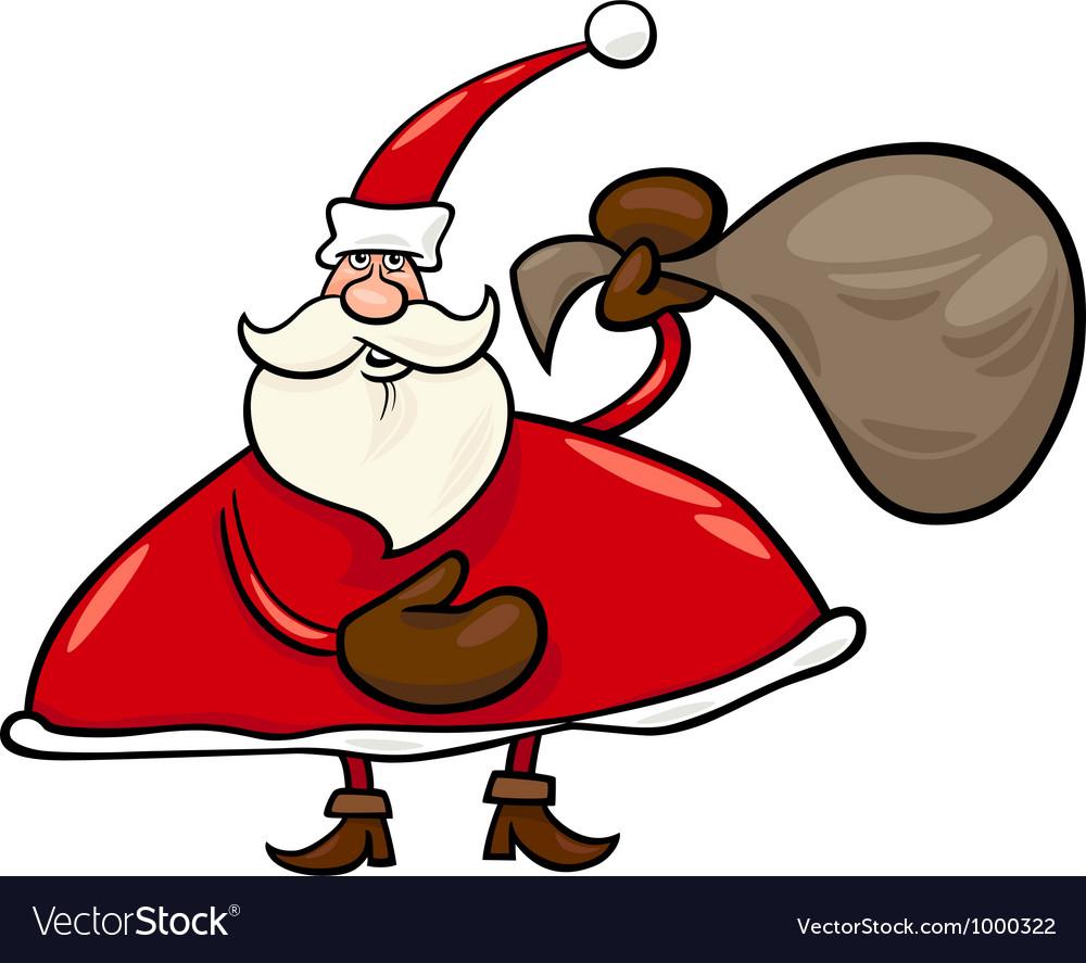 Santa claus with sack cartoon vector   Price: 1 Credit (USD $1)