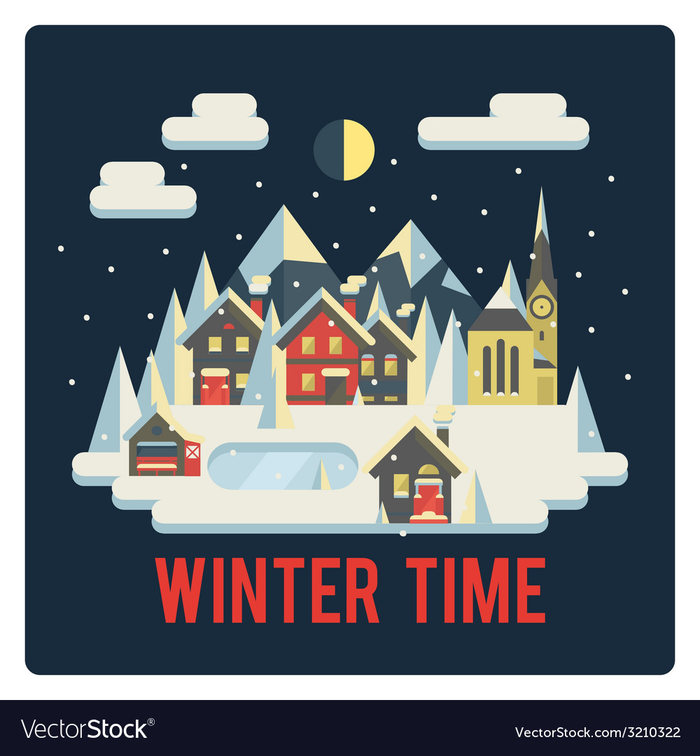 Town in mountains winter time night vector | Price: 1 Credit (USD $1)