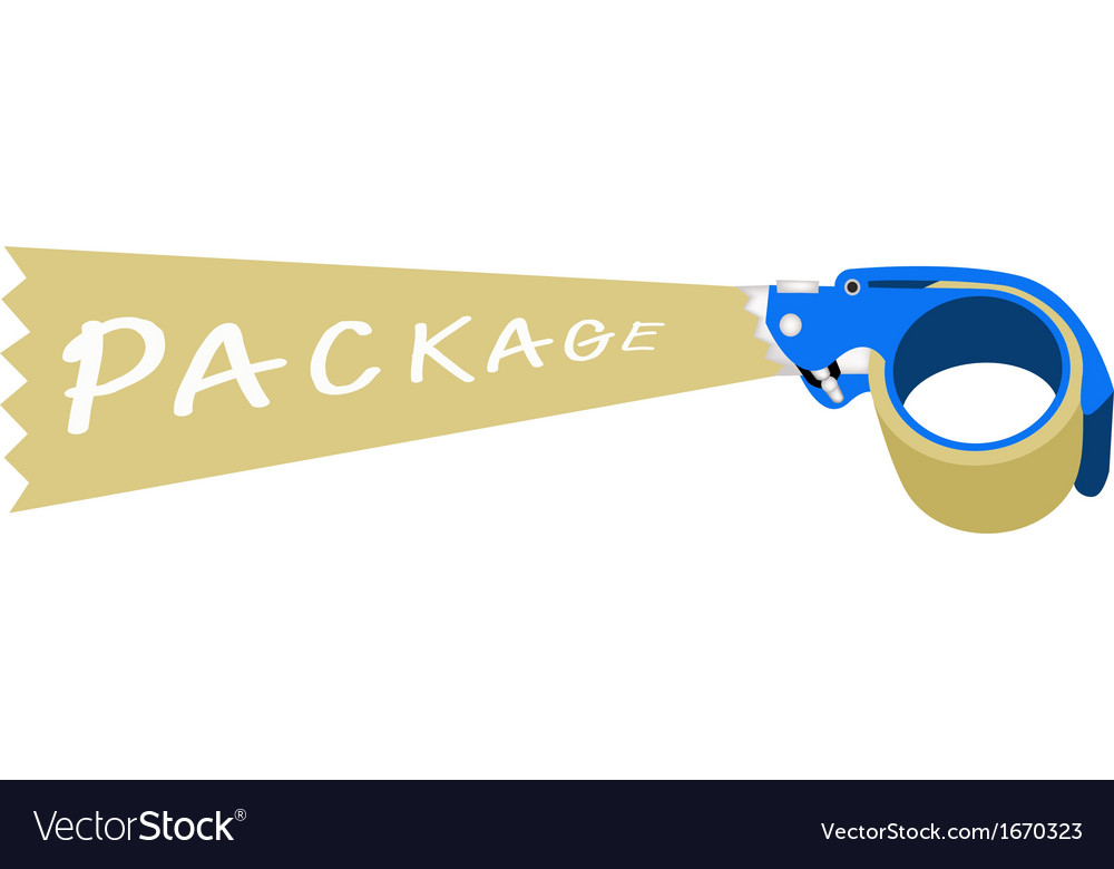 Adhesive tape dispenser with a word package vector | Price: 1 Credit (USD $1)