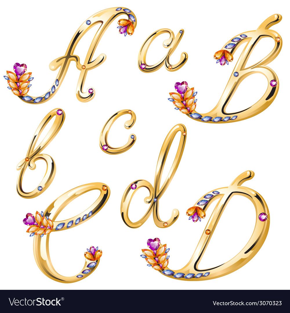 Bronze alphabet with colored gems letters abcd vector | Price: 1 Credit (USD $1)