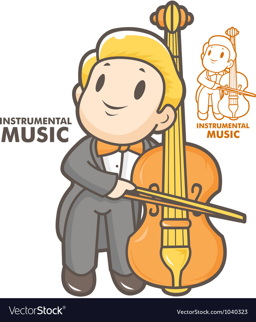 Cartoon cello player vector | Price: 1 Credit (USD $1)