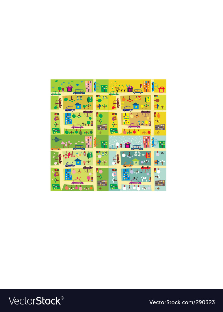Cartoon city map vector | Price: 1 Credit (USD $1)
