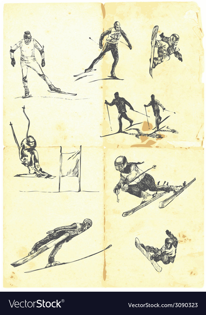 Collection of alpine skiing vector | Price: 1 Credit (USD $1)