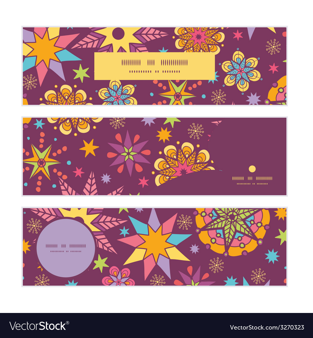 Colorful stars horizontal banners set pattern vector | Price: 1 Credit (USD $1)