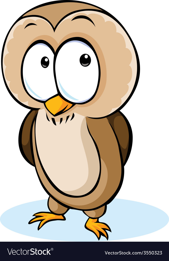 Cute owl cartoon - isolated on white backgro vector | Price: 1 Credit (USD $1)