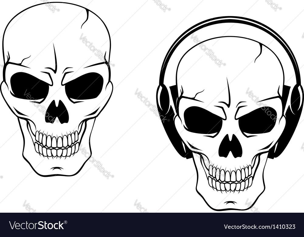 Danger skull in headphones vector | Price: 1 Credit (USD $1)