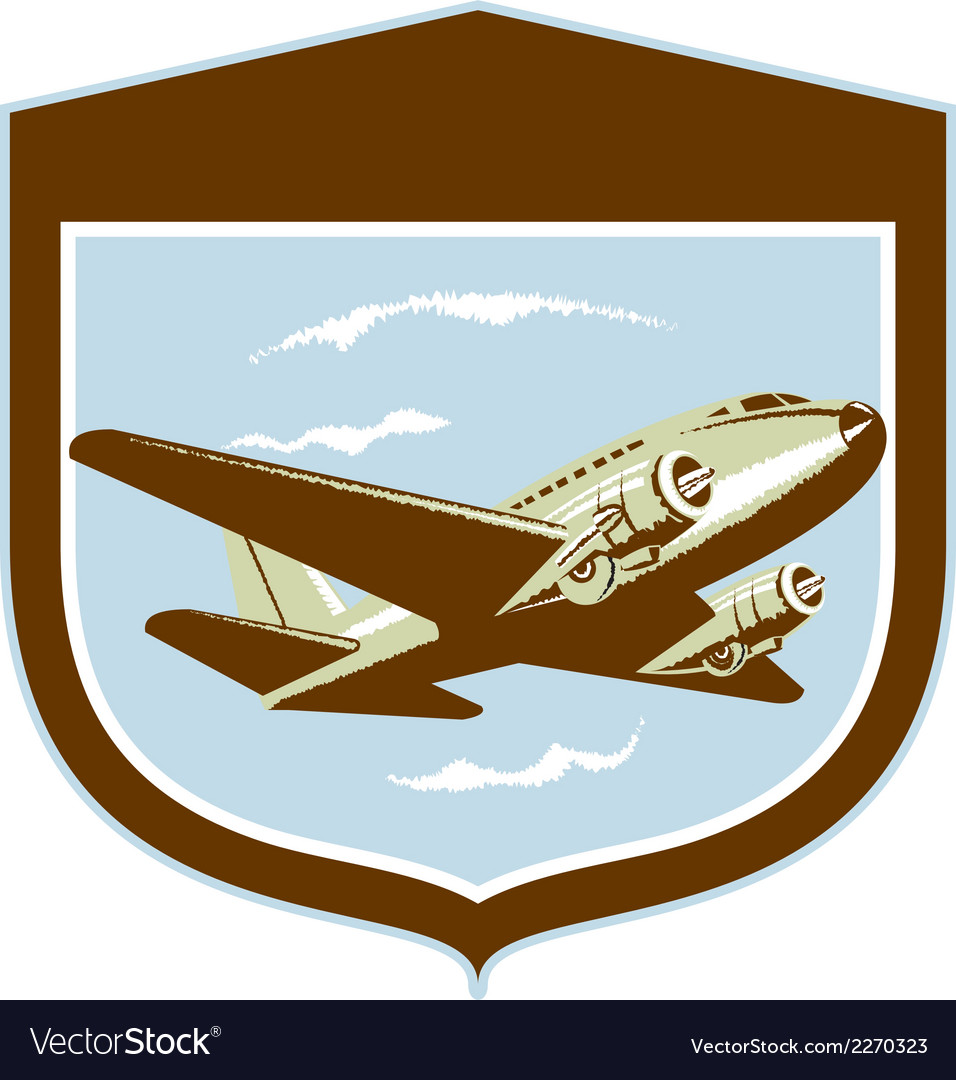 Dc10 propeller airplane flying shield retro vector | Price: 1 Credit (USD $1)