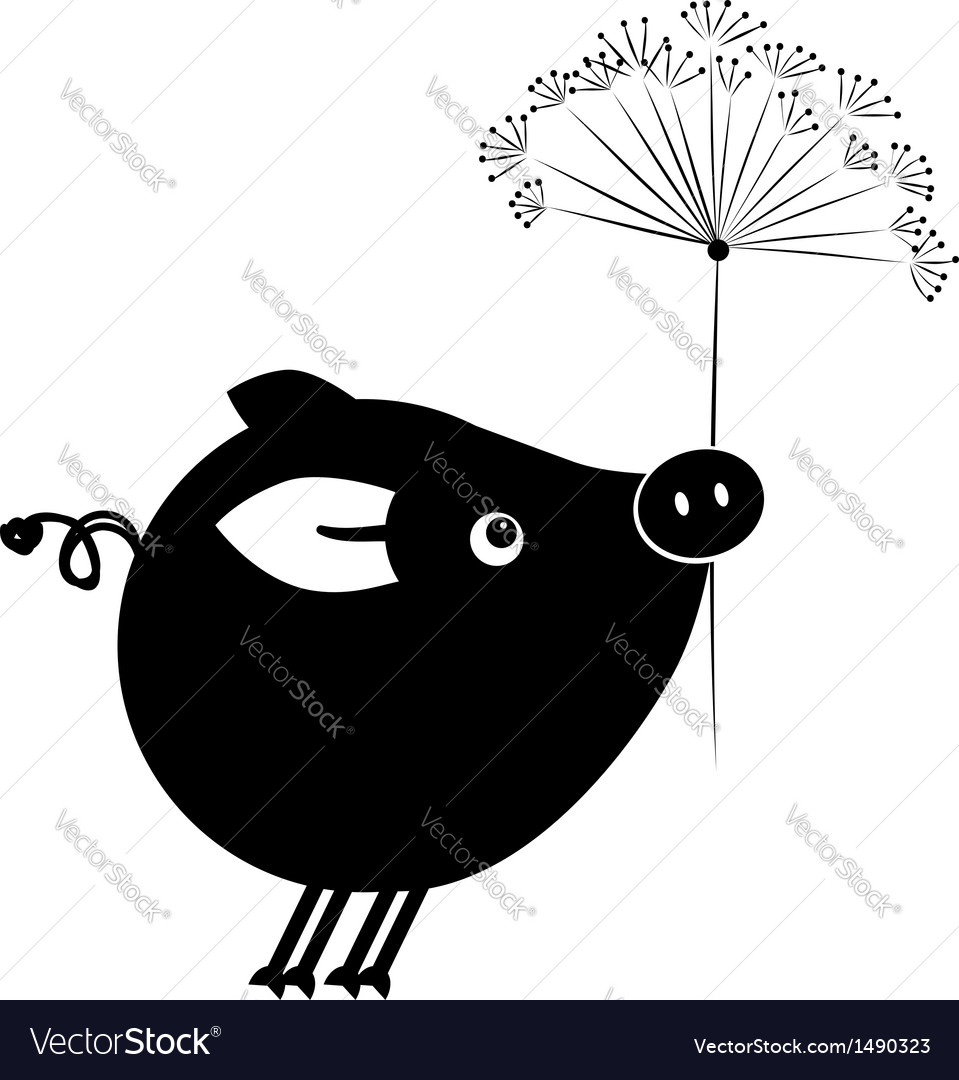 Flying piggy with flower for your design vector   Price: 1 Credit (USD $1)