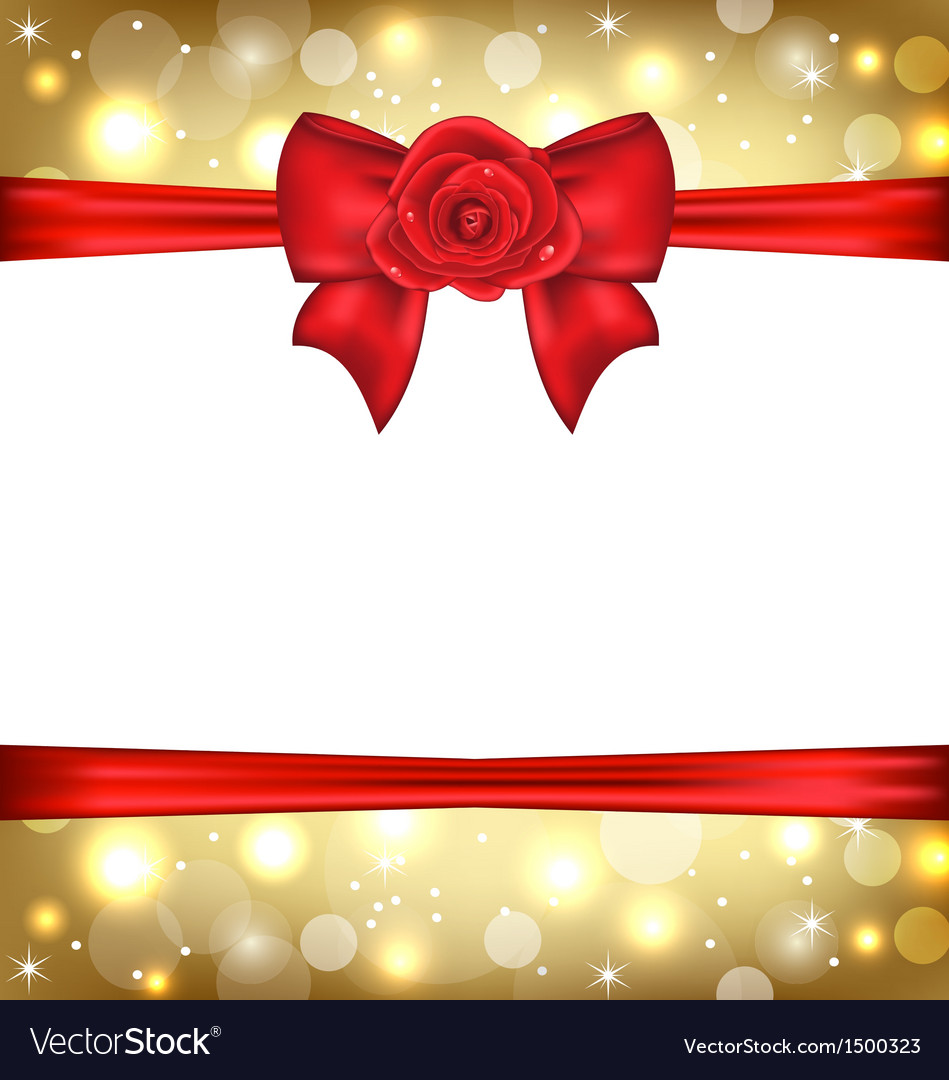 Holiday glossy packing with gift bow and rose vector | Price: 1 Credit (USD $1)