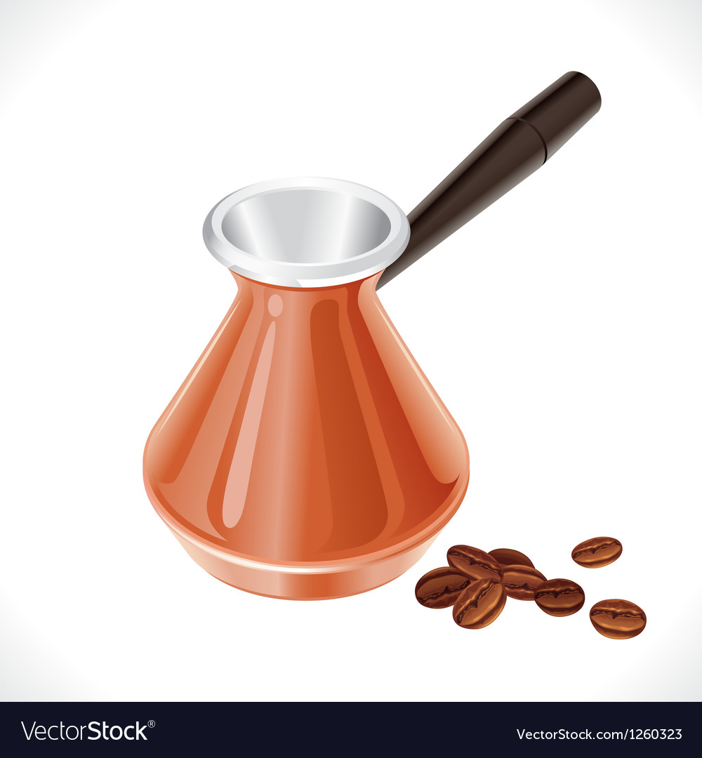 Metal turk and coffee beans isolated on white vector | Price: 1 Credit (USD $1)