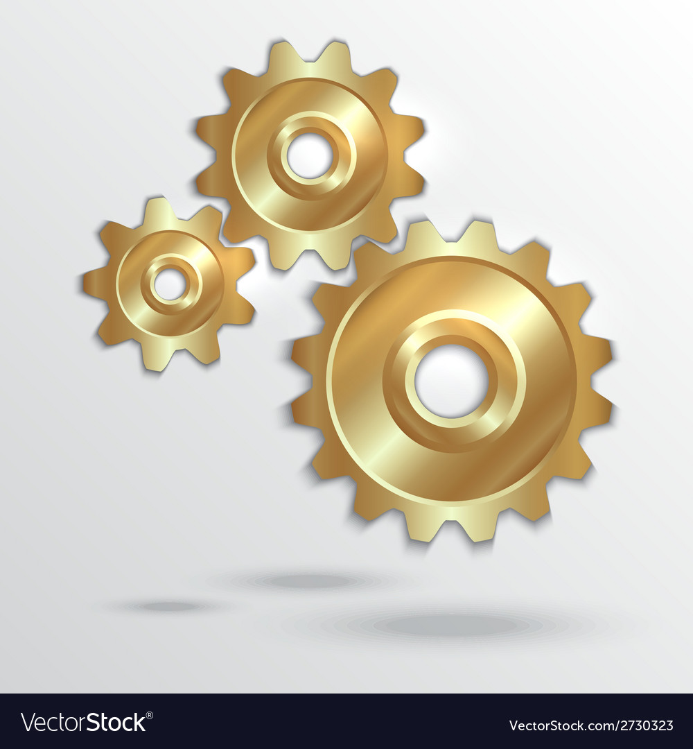 Metallic golden cogwheels vector | Price: 1 Credit (USD $1)