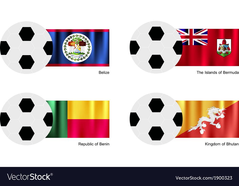 Soccer ball with belize bermuda benin flag vector | Price: 1 Credit (USD $1)