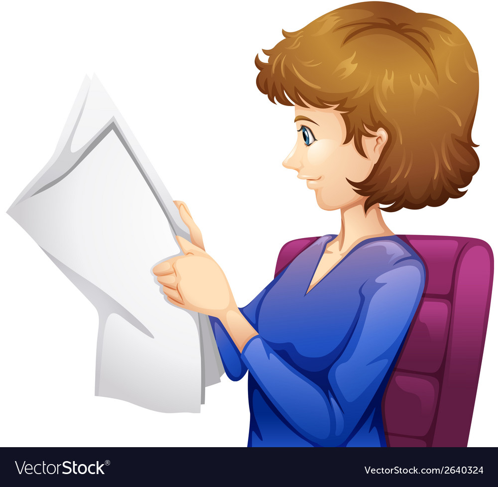 A lady reading a newspaper vector | Price: 1 Credit (USD $1)