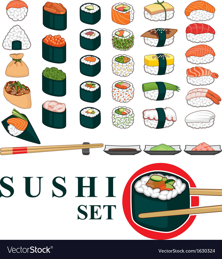 Big sushi set vector | Price: 1 Credit (USD $1)