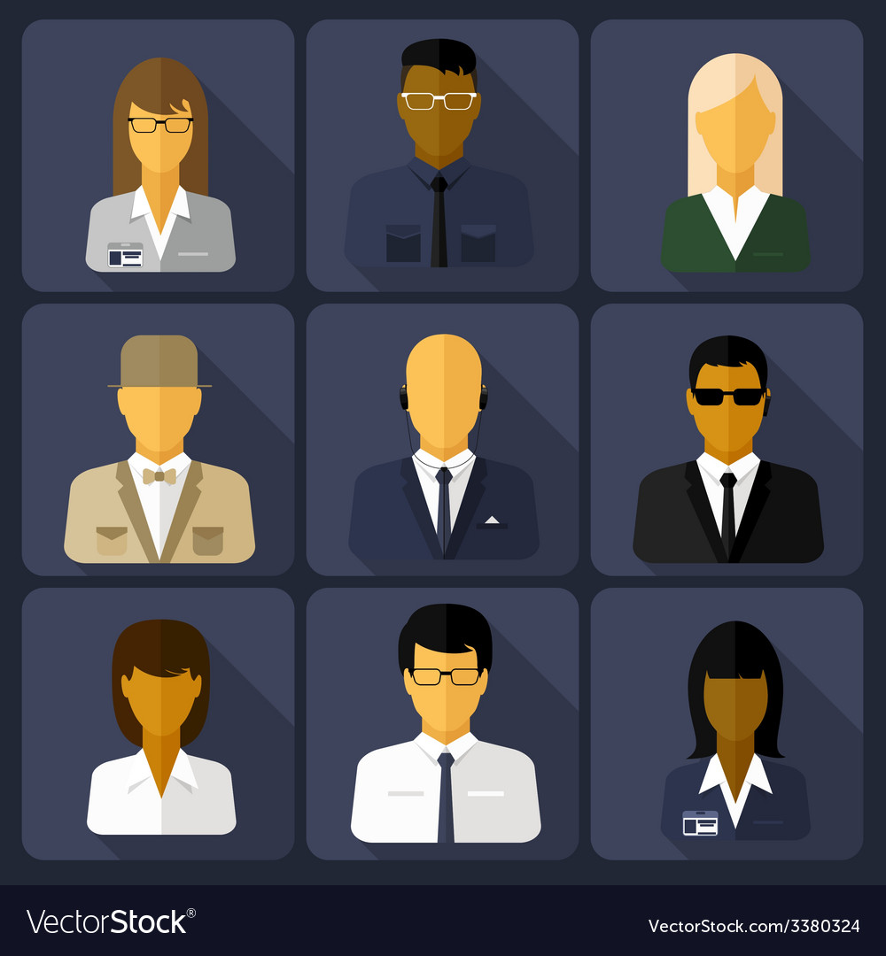 Business set of stylish avatars woman and man vector | Price: 1 Credit (USD $1)
