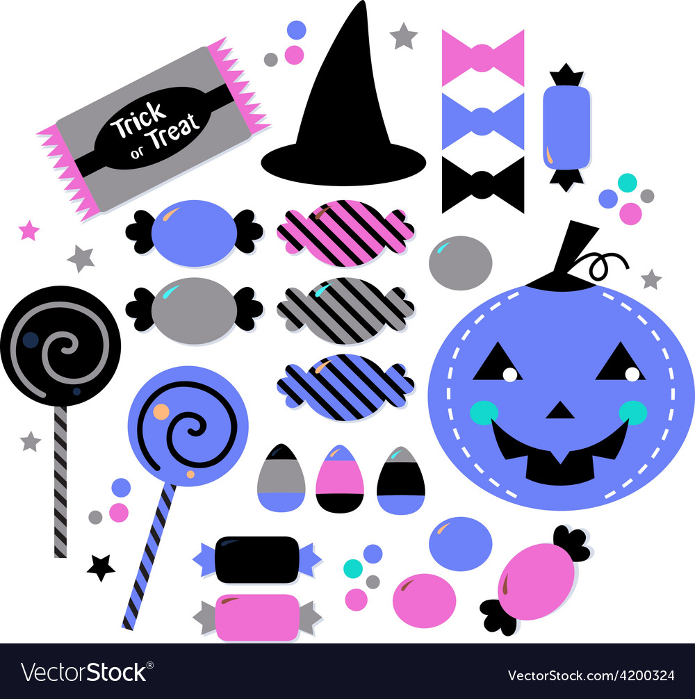 Cute beautiful halloween sweets isolated on white vector | Price: 1 Credit (USD $1)