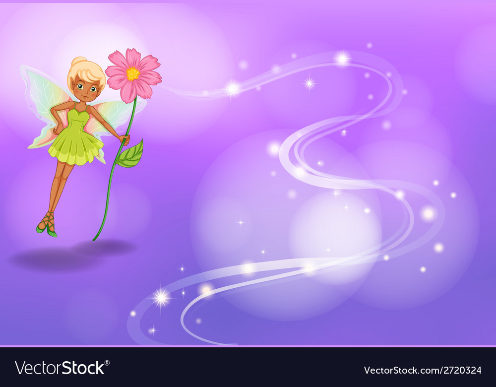 Fairy with flower vector | Price: 1 Credit (USD $1)