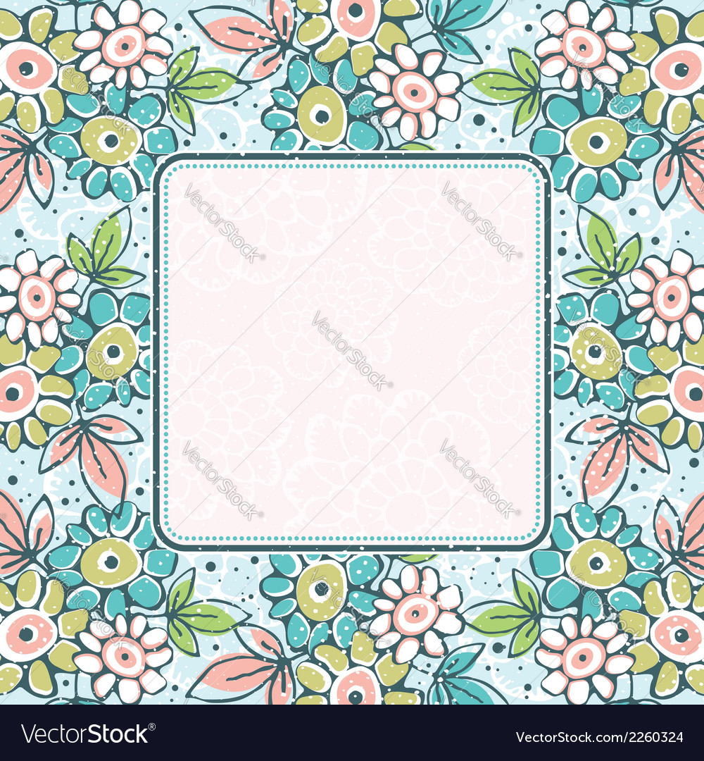 Frame of hand draw flowers on blue background vector | Price: 1 Credit (USD $1)