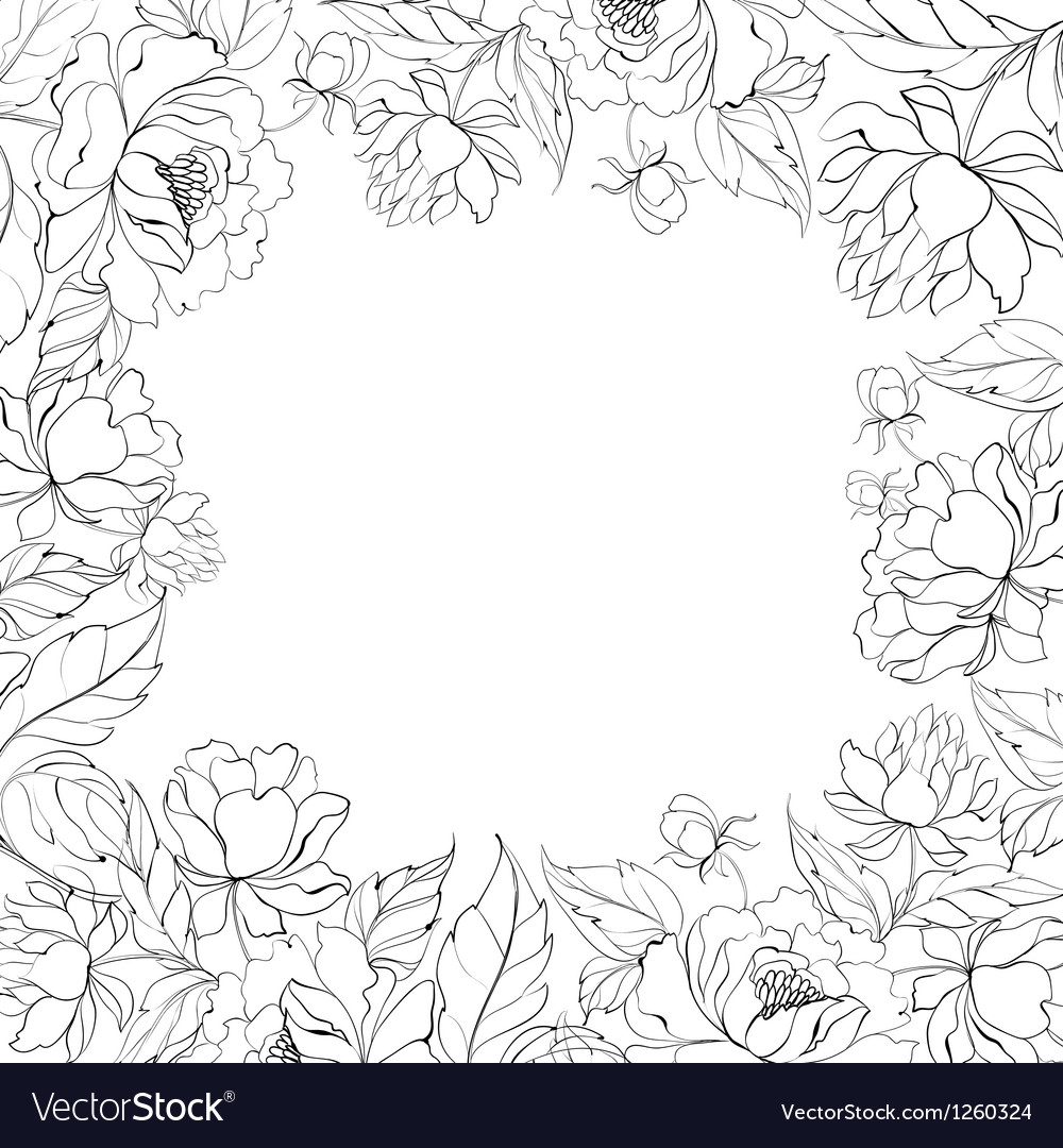 Frame of peony vector | Price: 1 Credit (USD $1)