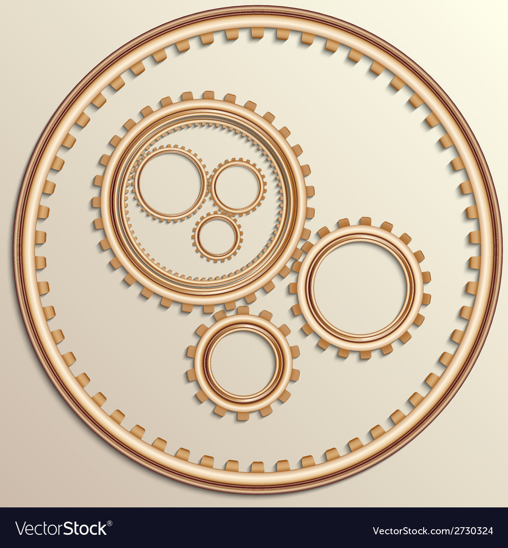 Metallic copper gear wheels vector | Price: 1 Credit (USD $1)