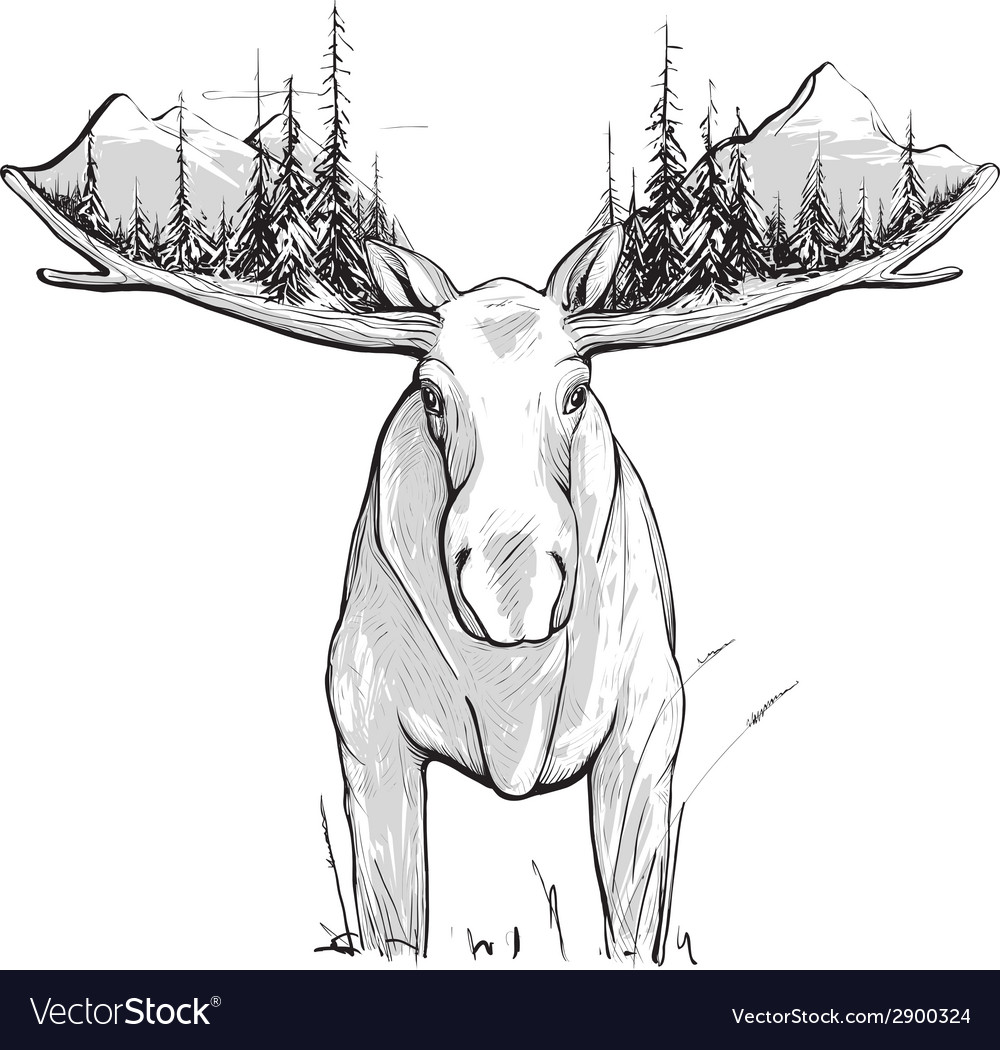Moose forest and mountains vector | Price: 1 Credit (USD $1)