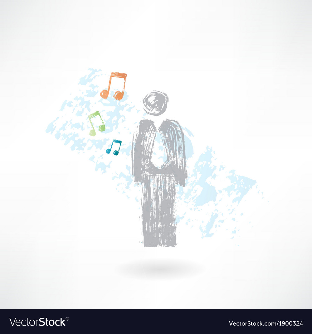 Music man grunge icon vector | Price: 1 Credit (USD $1)