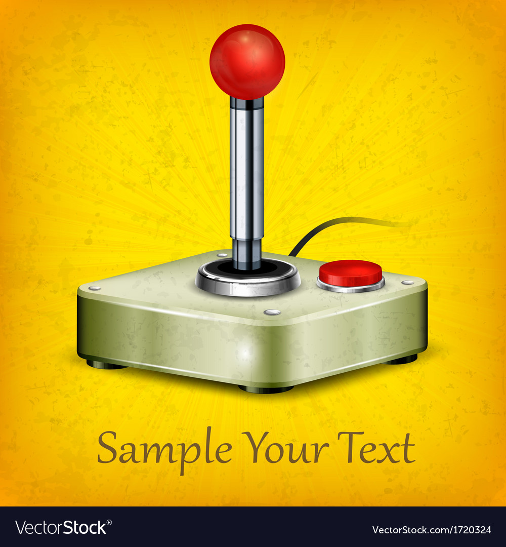 Retro joystick on yellow vector | Price: 1 Credit (USD $1)