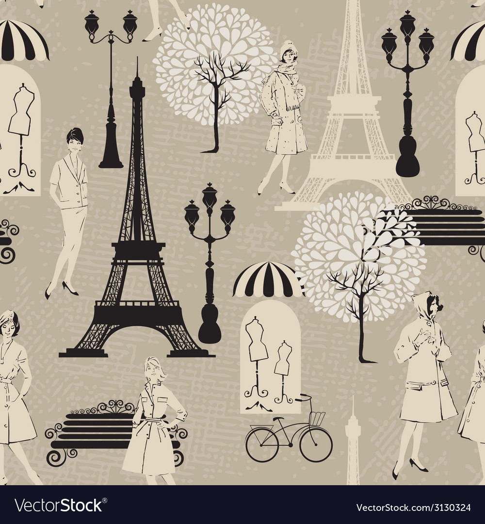 Seamless pattern - effel tower street lights old f vector | Price: 1 Credit (USD $1)