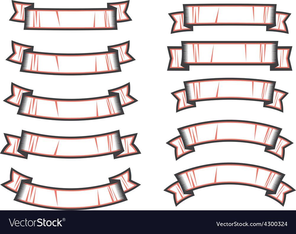 Set of ribbon shapes vector | Price: 1 Credit (USD $1)