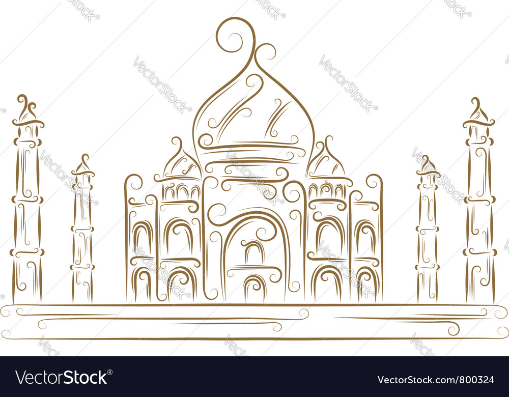 Taj mahal sketch vector | Price: 1 Credit (USD $1)
