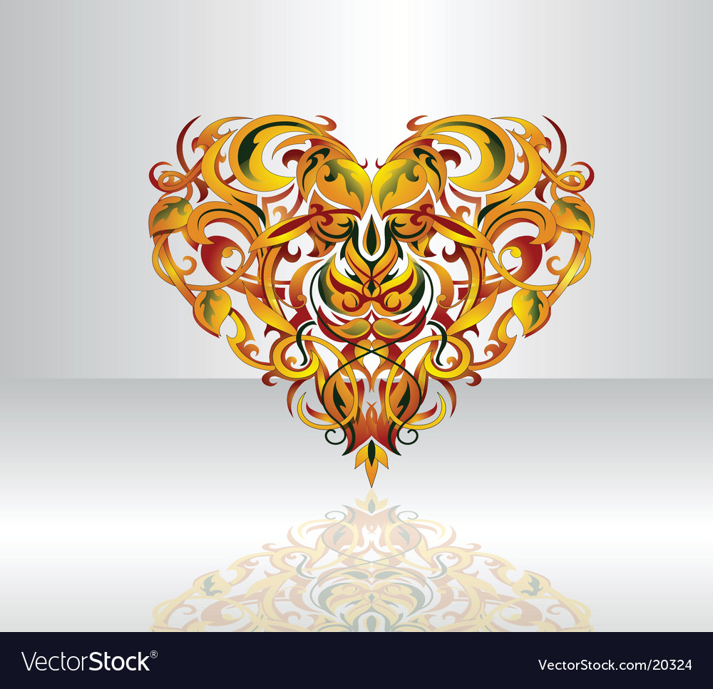 Tribal heart design element vector | Price: 1 Credit (USD $1)