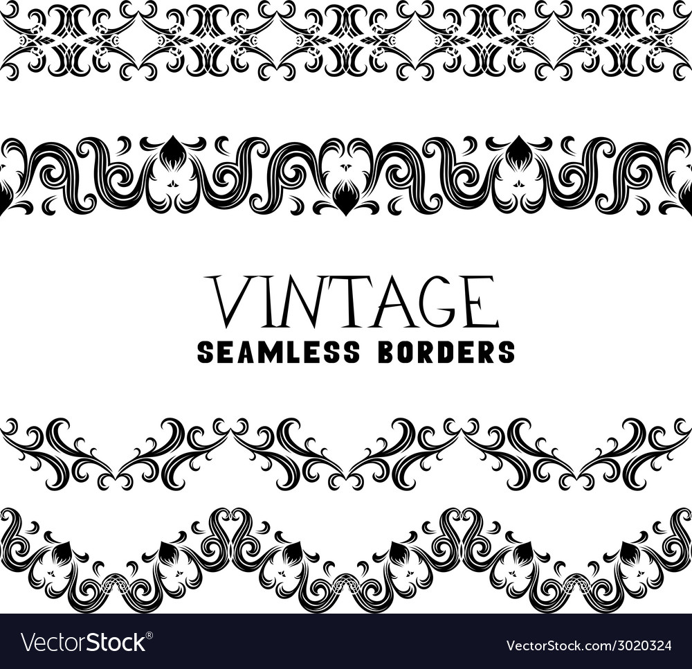 Vintage semless borders vector | Price: 1 Credit (USD $1)