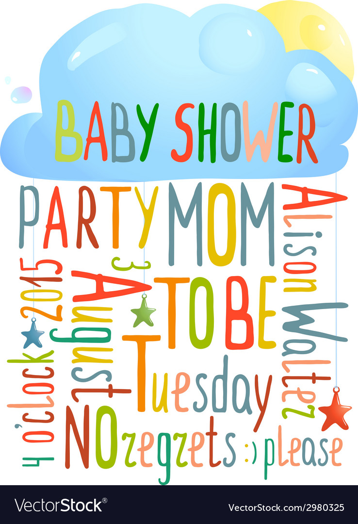 Baby shower invitation with cloud vector | Price: 1 Credit (USD $1)