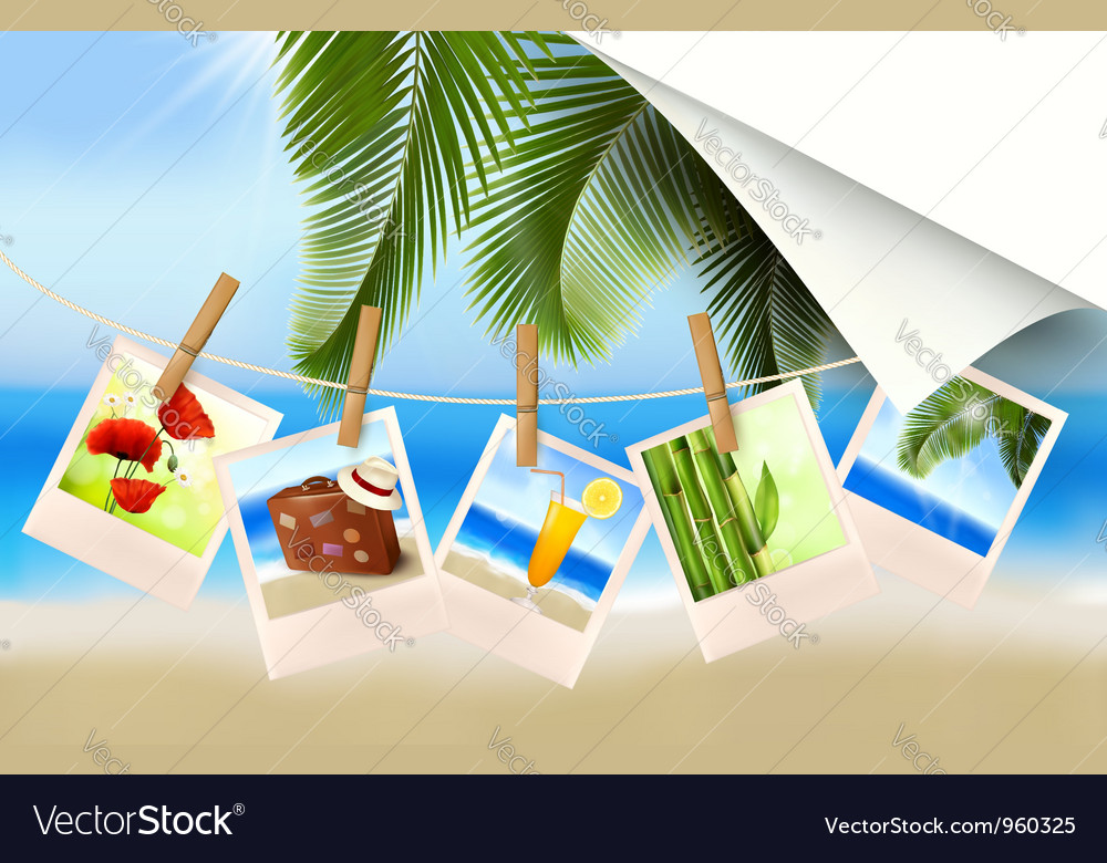 Background with photos from holidays on a seaside vector | Price: 3 Credit (USD $3)