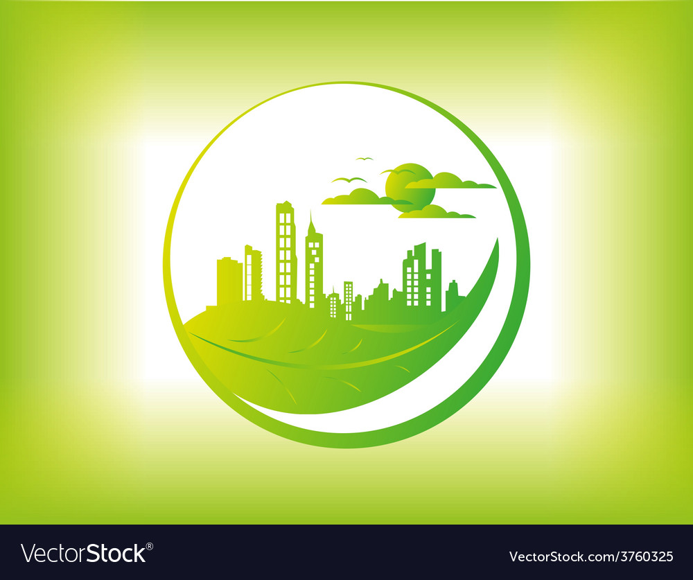 Eco city background vector | Price: 3 Credit (USD $3)