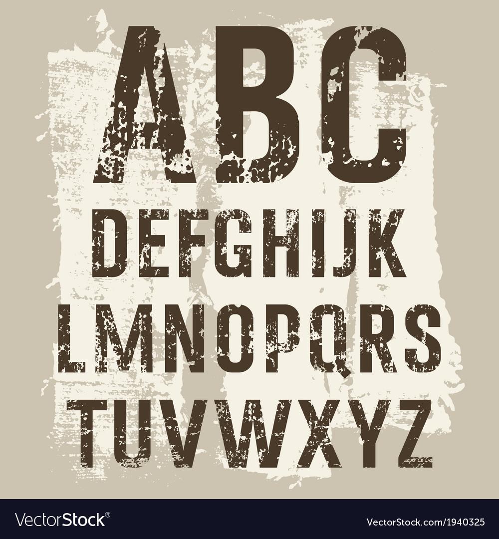 Grunge letters set vector