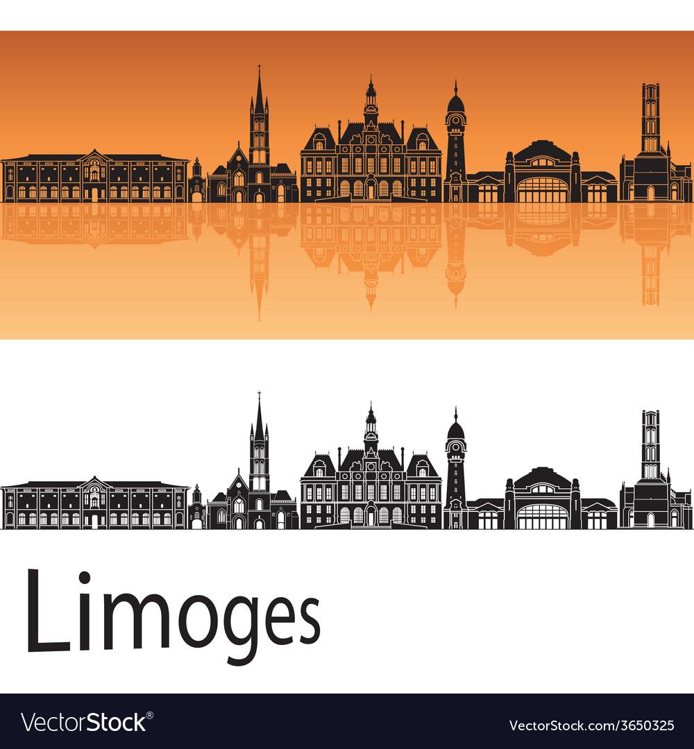 Limoges skyline in orange background vector   Price: 1 Credit (USD $1)