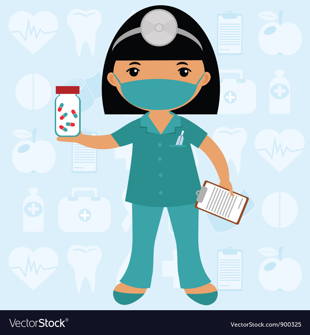 Little nurse in mask vector | Price: 1 Credit (USD $1)