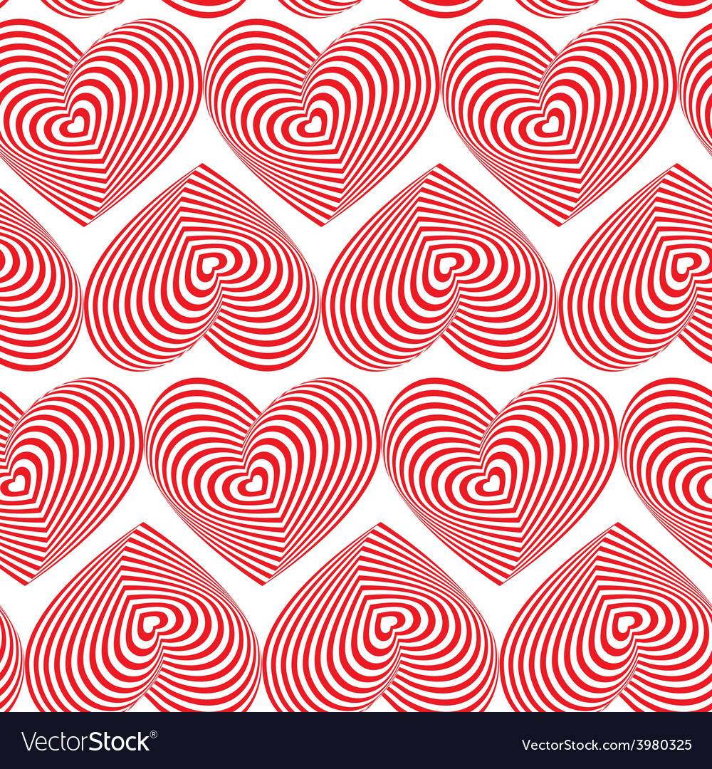 Red heart striped seamless pattern on white vector | Price: 1 Credit (USD $1)