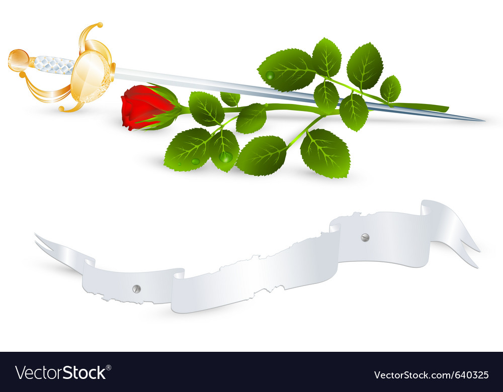 Red rose and sword vector | Price: 3 Credit (USD $3)