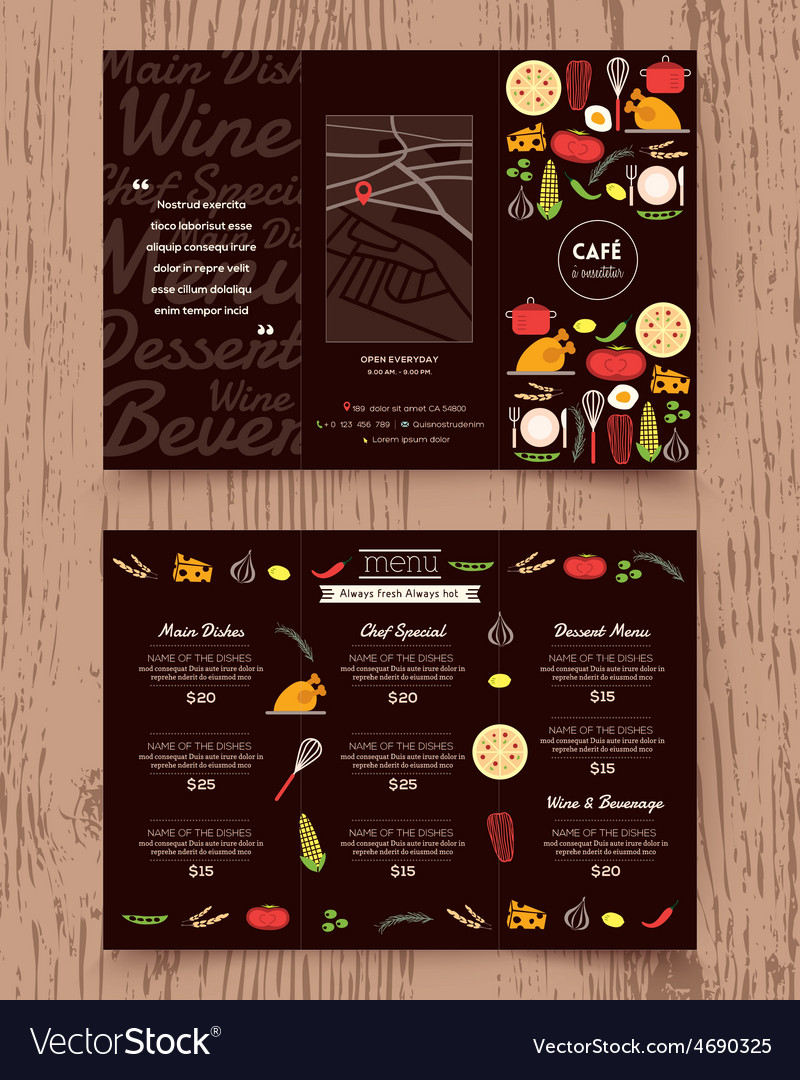 Restaurant menu design pamphlet template vector | Price: 1 Credit (USD $1)