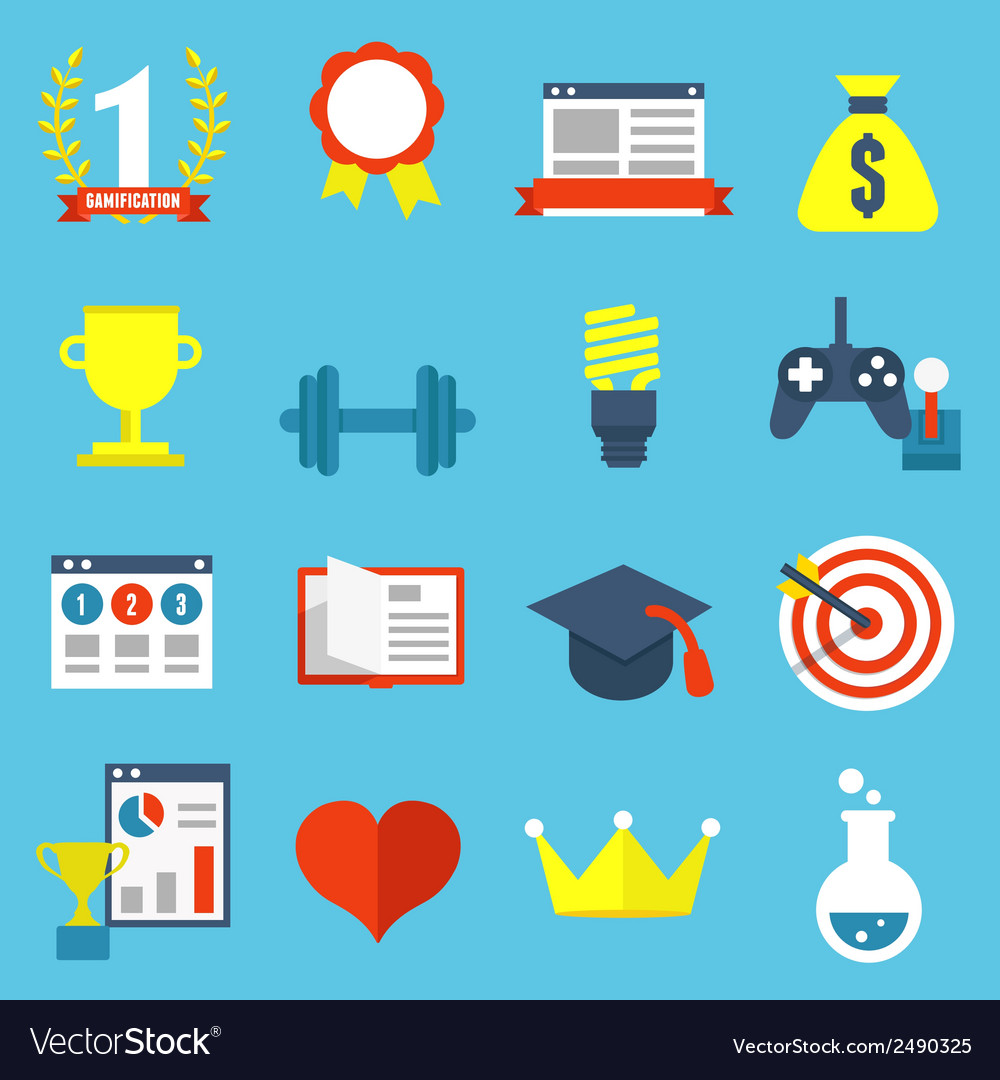 Set of gamification icons for design vector | Price: 1 Credit (USD $1)