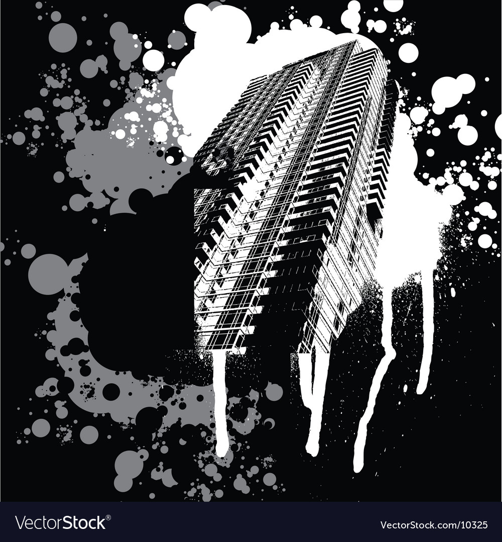 Skyscraper black and white graffiti vector | Price: 1 Credit (USD $1)